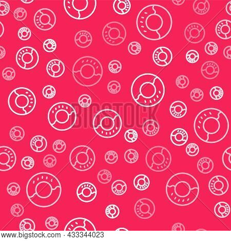 White Line Donut With Sweet Glaze Icon Isolated Seamless Pattern On Red Background. Vector