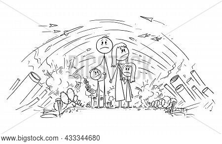 Frustrated, Stressed Or Frightened Family Trapped In War Or Conflict, Vector Cartoon Stick Figure Il