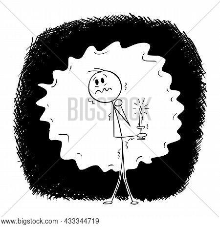 Frightened Man In Dark Holding Candle, Vector Cartoon Stick Figure Illustration