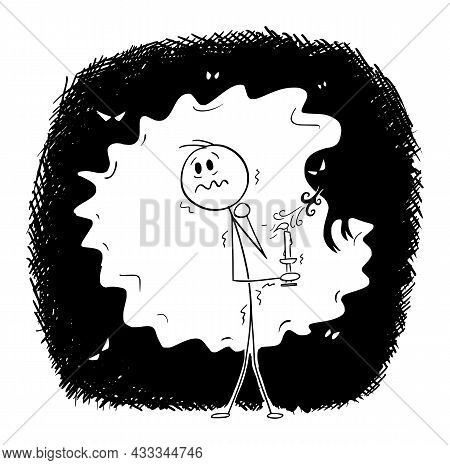 Frightened Man In Dark With Ghosts And Monsters Holding Candle, Vector Cartoon Stick Figure Illustra