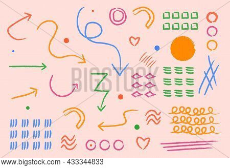 Brush Stroke Style. Many Unusual Elements, Branding. Graphic Elements For Website, Buttons For Trans