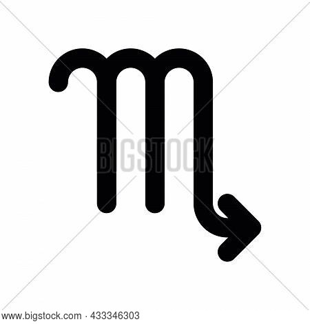 Scorpio - Astrological Sign. One Of Twelve Zodiac Symbols. Simple Solid Line Vector Icon.