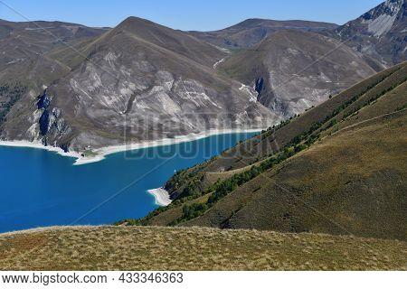 High-altitude Lake Kezenoy Am Above View. Chechnya. Russia