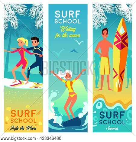 Surf School Vertical Banners With Brave Girls And Boys Surfing In Summer Vacation Flat Vector Illust