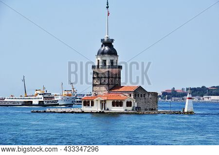 Panorama Of The Bosphorus Strait With A View Of The Maiden Island. Ocean Ship On The Background Of T