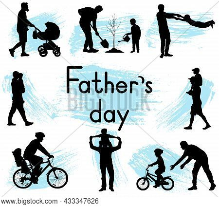 Father's Day. Pastimes Of Father And Son. Silhouettes Of Man And Boy. Vector Illustration