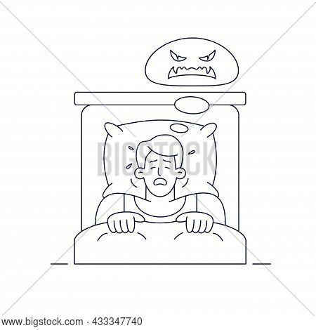 Nightmare Vector Illustration. Man Character Has A Bad Dream, Is Scared Of Monster From Nightmare.li