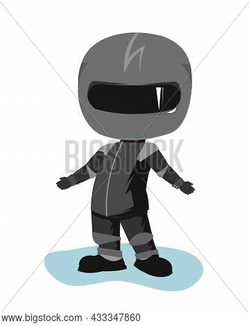 Motorcyclist In A Black Jacket And Helmet. Biker Uniform. Does Not Know. Cartoon Style. Funny Charac