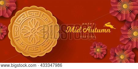 Mid Mid Autumn Festival Banner With Rabbit, Mooncake And Flower. Paper Cut Style. Vector