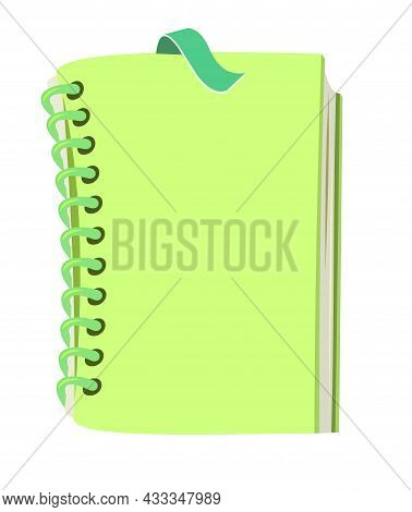 Green Book Or Notepad. Cheerful Cute Cartoon Style. Isolated On White Background. Childrens Design.
