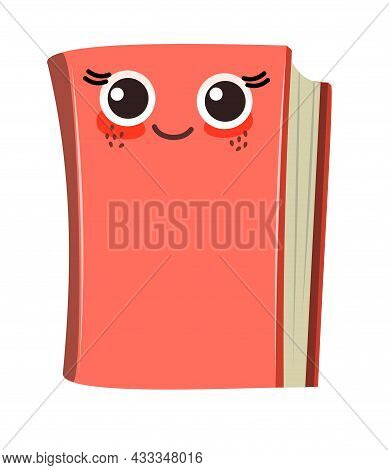 Red Book Or Notepad. Isolated On White Background. Cheerful Cute Cartoon Character. Childrens Design