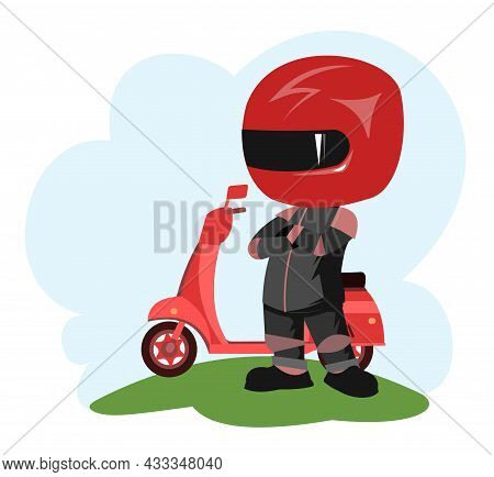 Scooter Driver. Biker Cartoon. Child Illustration. Proud Of Victory. In A Sports Uniform And A Red H
