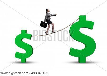 Businesswoman in forex market trend concept