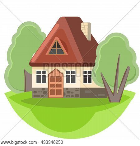 Small Country House With Light Stone Wall And Brown Roof. Funny Cartoon Style. Country Suburban Vill