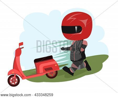 Scooter Driver. Biker Cartoon. Child Illustration. Catching Up. In A Sports Uniform And A Red Helmet