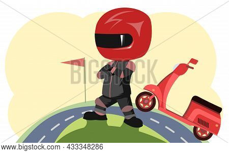 Scooter Driver. Biker Cartoon. Child Illustration. Won. In A Sports Uniform And A Red Helmet. Cool M