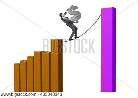 Businessman in forex market trend concept