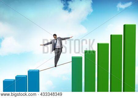 Businessman walking on tight rope between bar chart