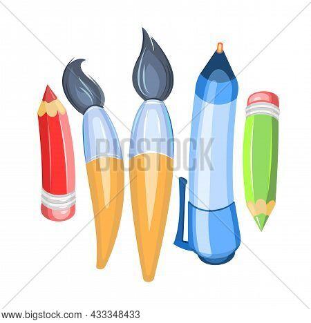 Stationery Assortment. Brushes And Pencils. Isolated On White Background. Cartoon Funny Style. Symbo