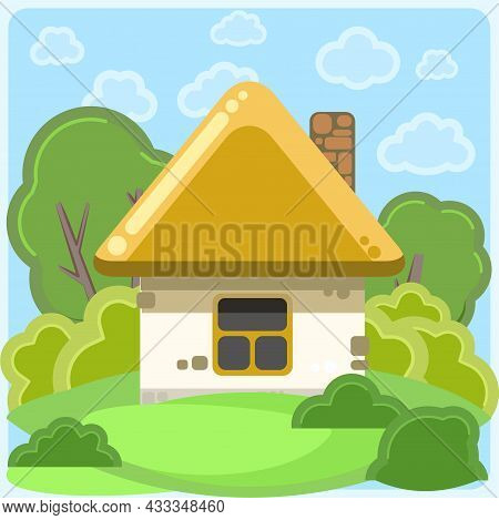 Small Country House With White Walls And Yellow Roofs. Funny Cartoon Style. Country Suburban Village