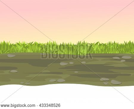 Seamless Road. Horizontal Border Composition. Summer Meadow Landscape. Juicy Grass. Rural Rustic Sce