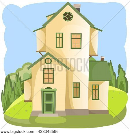 Cartoon House In The Meadow. Summer. Beautiful View. Cozy Rustic Dwelling In A Traditional European