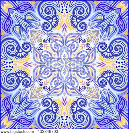 Blue Painting On Ceramic Tile. Seamless Pattern Ornament. Arabesque Pattern For Fabric, Wall Paper,