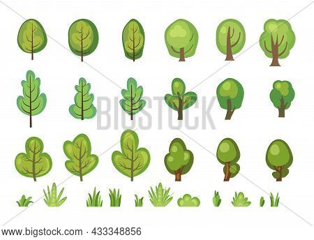 Flat Forest. Set With Trees. Illustration In A Simple Symbolic Style. Bushes. Objects For A Funny Gr