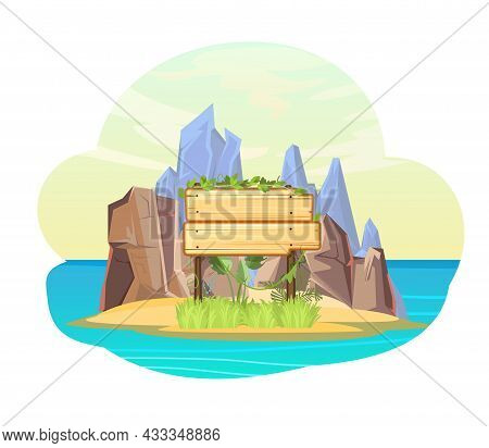 Island In The Ocean. Wooden Sign. Two Items Empty Board With Place For Text. Cartoon Style. Blue Cal