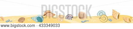 Frontal View Of The Seashore. Yellow Sandy Beach. Shellfish And Snail Shells. Close Up View. The Iso
