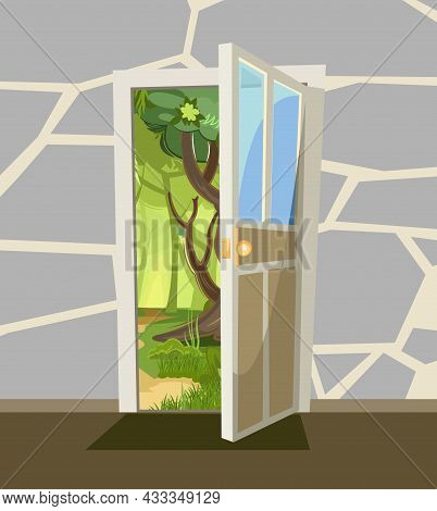 Opened Door. From Inside Of Room At Home. Summer Forest Landscape View. Stone Wall. Way Is Open. Car