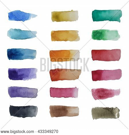 Set Of Watercolor Strokes. Colorful Watercolor Patch Background Vector. Watercolor Brushes Base. Fla