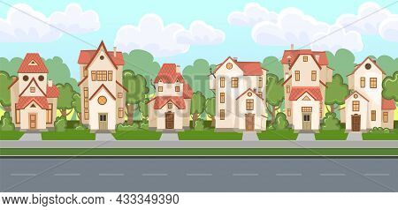 Street. Cartoon Houses With A Road. Asphalt. Village Or Town. Seamlessly. A Beautiful, Cozy Country
