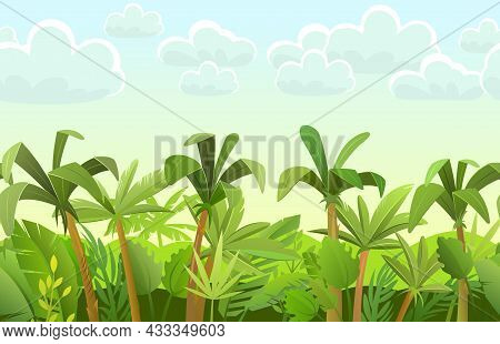 Rainforest Background. Jungle Trees. Cartoon Fun Style. Morning Sky With Clouds. Seamless Landscape
