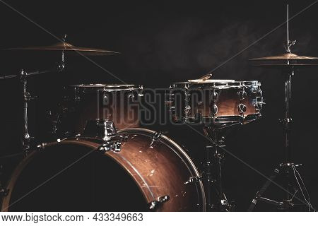 Part Of A Drum Kit On A Black Background, Percussion Instrument, Snare Drum, Bass Drum, Hi-hat.