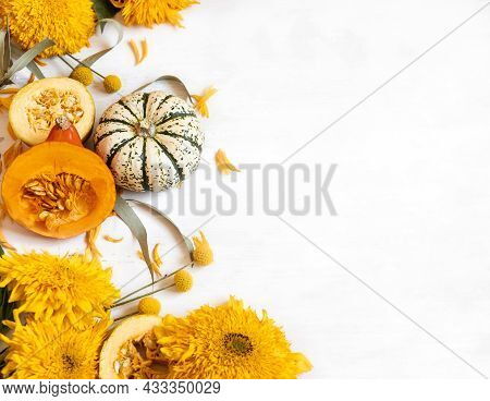 Festive Autumn Decor From Pumpkins And Flowers On A White Background. Concept Of Thanksgiving Day Or