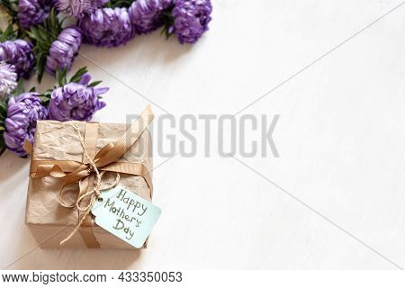 Mothers Day Festive Background With Gift Box And Fresh Chrysanthemum Flowers On White Background, Co