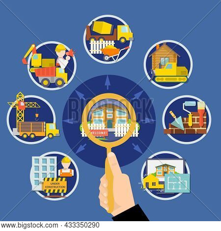 Flat Construction Design Concept With Hand Holding Magnifier Building Elements Tools Equipment And V