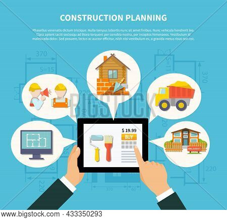 Flat Construction Planning Diagram Concept With Hand Holding Tablet And Building Scheme Contractor H