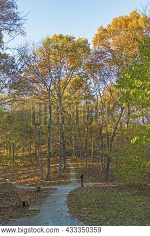 Inviting Trail In The Fall Forest In The Rim Rock National Trail In Illinois