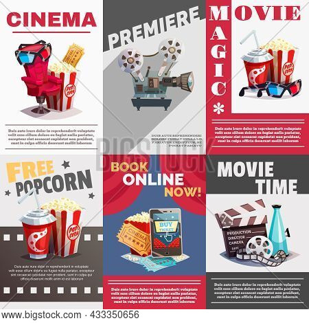 Set Of Cinema Posters With Premiere And Movie Time Advertising Decorative Elements  In Retro Style V