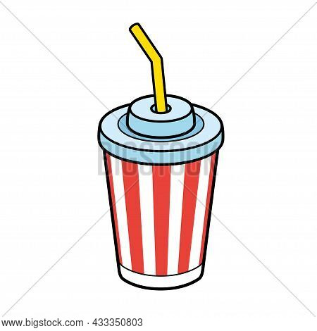 Striped Soft Drink Paper Cup With Straw Isolated.