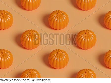 Halloween Orange Pumpkin. Isometric Seamless Pattern. 3d Illustration.