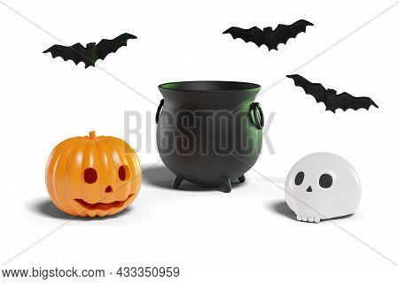 Halloween Still Life. Cauldron, Pumpkin, Skull And Bats Isolated On White 3d Illustration. Backgroun