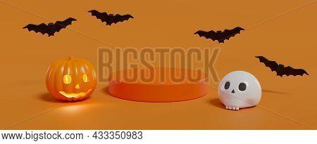 Halloween Podium. Pumpkin, Skull And Bats On Orange Background. 3d Illustration.