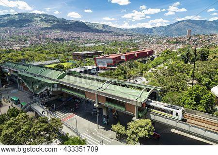 Medellin, Antioquia. Colombia - September 17, 2021 - Universidad Metro Station And Explora Park. Uni