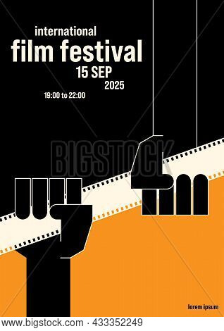 Movie And Film Poster Design Template Background With Filmstrip. Can Be Used For Backdrop, Banner, B