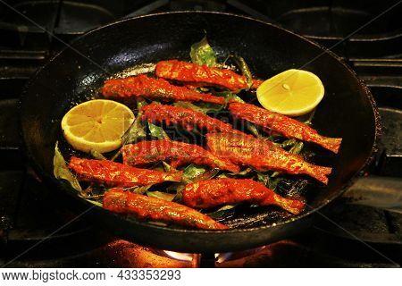 Kerala Style Masala Marinated Fish Fry, Sardine Fish In A Frying Pan.