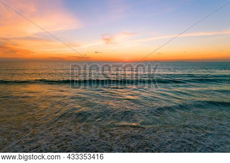 Aerial View Beautiful View Sunset Over Sea Surface Beautiful Wave Amazing Light Sunset Or Sunrise Sk