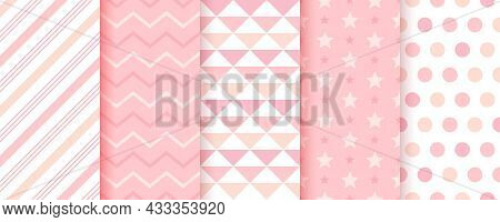 Baby Girl Backgrounds. Cute Seamless Pattern. Pastel Pink Geometric Textures. Childish Prints With Z
